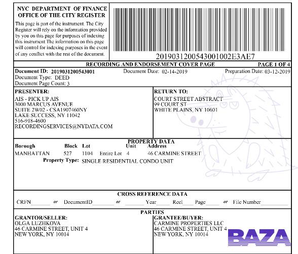 Документы о продаже квартир в США Ольгой Лужковой